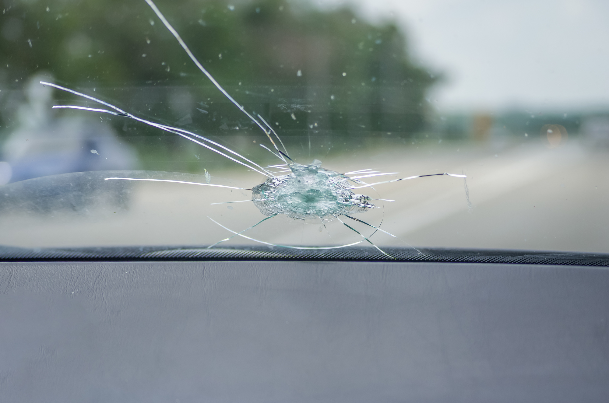 Cracked Windshield on a Car